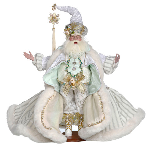 Mark Roberts White and Silver Santa Christmas Figurine, Large 23.5-Inches - IMAGE 1