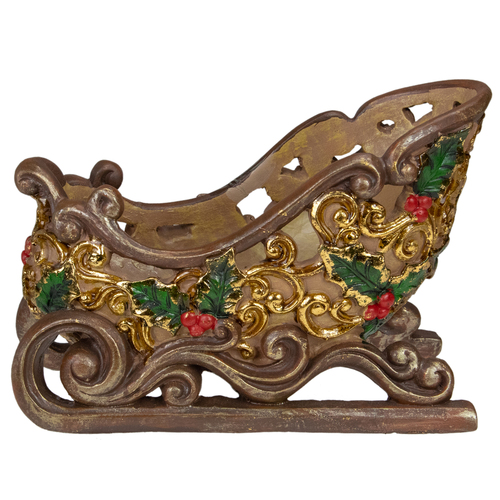 """8.75"""" Brown and Gold Sleigh Tabletop Christmas Decoration - IMAGE 1"""