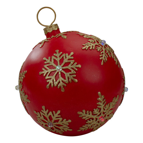 12-Inch Red and Gold Large Christmas Ball Ornament Tabletop LED Decoration - IMAGE 1