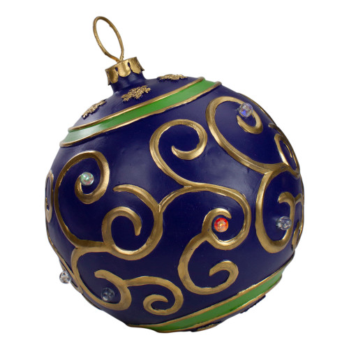 12-Inch Blue and Gold Large Christmas Ball Ornament Tabletop LED Decoration - IMAGE 1