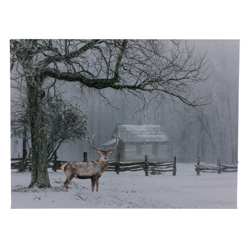 """Lighted Winter Cottage Forest Scene Christmas Canvas Wall Art 11.75"""" x 15.75"""" - IMAGE 1"""