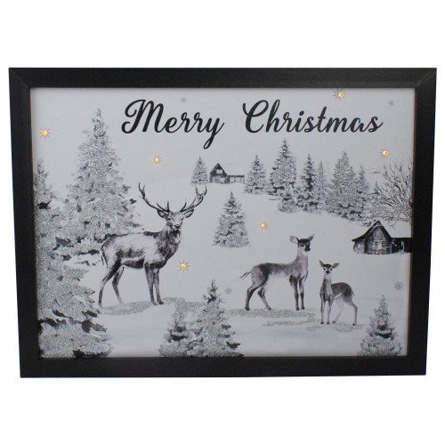 """Lighted Black and White Winter Scene Merry Christmas Canvas Wall Art 11.75"""" x 15.75"""" - IMAGE 1"""