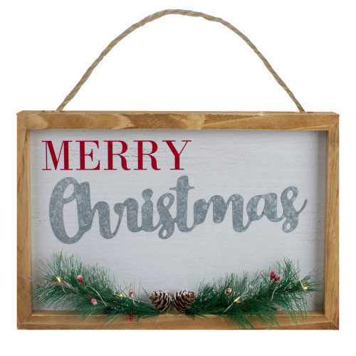 """12"""" LED Lighted 'Merry Christmas' Framed Wall Sign with Pine - IMAGE 1"""