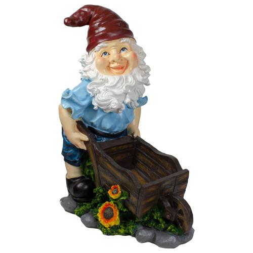 """20"""" Blue and Brown Wheelbarrow Gnome Outdoor Garden Statue - IMAGE 1"""