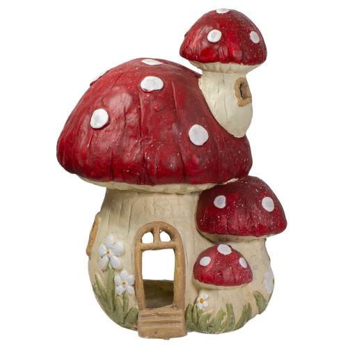 "18"" Red and Beige Mushroom House Outdoor Garden Statue - IMAGE 1"