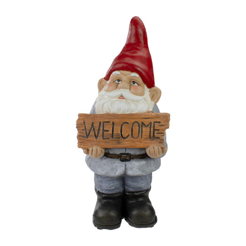 """17"""" Gnome with Welcome Sign Outdoor Garden Statue - IMAGE 1"""