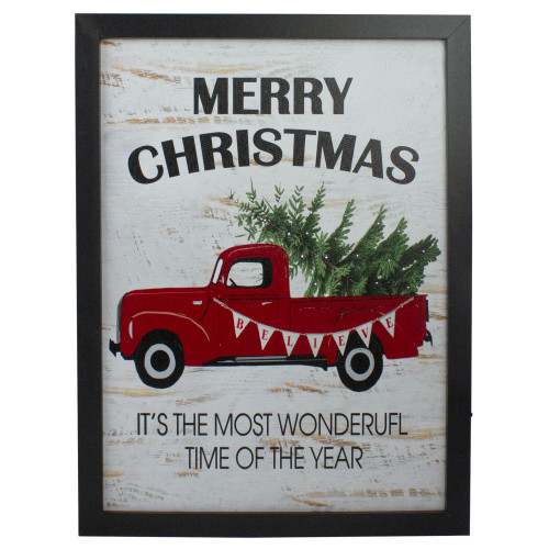 """16"""" Lighted Red and Green Merry Christmas Canvas Wall Art - IMAGE 1"""