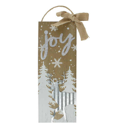 """12.5"""" White Trees and Snow with Metal Deer and Joy Wooden Christmas Wall Decor - IMAGE 1"""