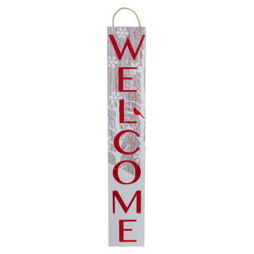 Red and White Cardinal 'Welcome' Christmas Wall Decor - IMAGE 1