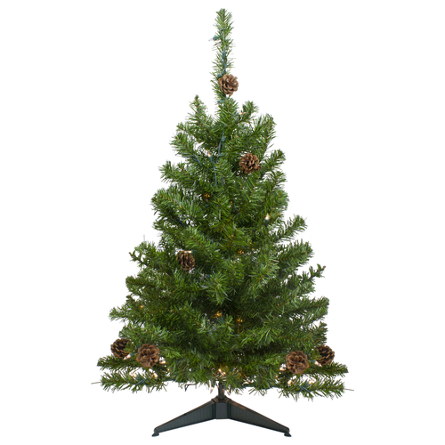 3' Pre-Lit Canadian Pine with Pine Cones Artificial Christmas Tree - Clear Lights - IMAGE 1