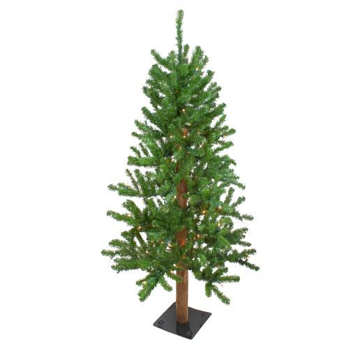 4' Pre-Lit Medium Alpine Artificial Christmas Tree - Clear Lights - IMAGE 1