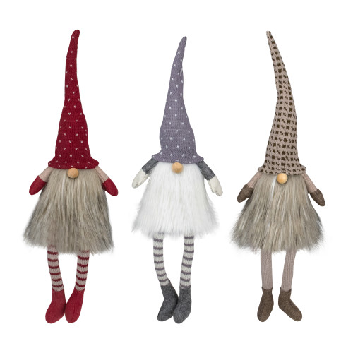 "Set of 3 Sitting Christmas Gnomes with Dangling Legs 20"" - IMAGE 1"