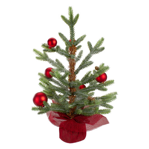 "18"" Potted Pine with Red Ornaments Medium Artificial Christmas Tree – Unlit - IMAGE 1"