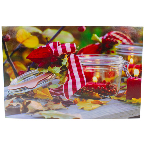 """LED Lighted Fall Candle with Berries Canvas Wall Art 23.5"""" x 15.75"""" - IMAGE 1"""