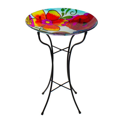 """18"""" Multi-Colored Hand Painted Glass Floral Pattern Outdoor Patio Bird Bath - IMAGE 1"""