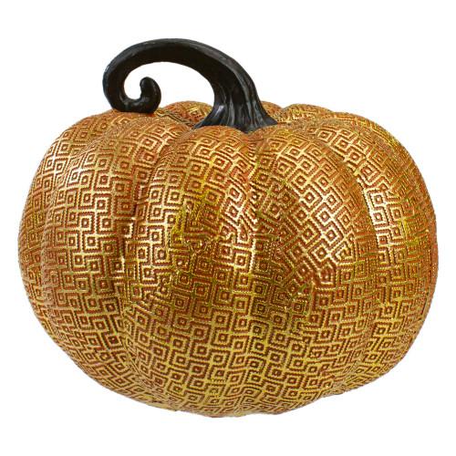 "7.5"" Gold and Orange Textured Pumpkin Fall Decoration - IMAGE 1"