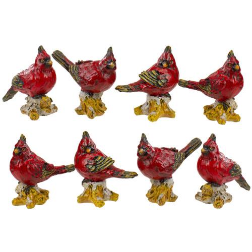 """Set of 8 Red Cardinal Bird Christmas Figures 4.5"""" - IMAGE 1"""