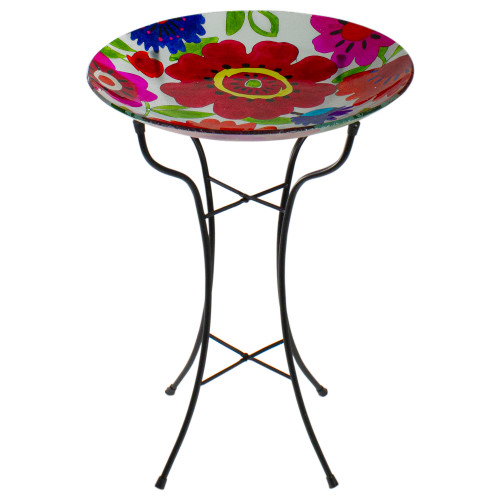 """18"""" Red and Blue Summer Flowers Hand Painted Glass Outdoor Patio Birdbath - IMAGE 1"""