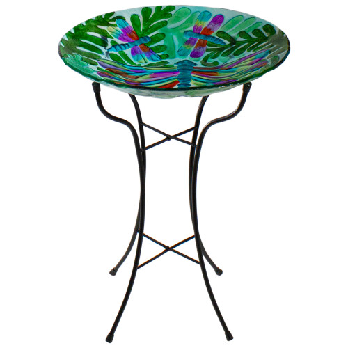 "18"" Colorful Dragonfly with Green Leaves Hand Painted Glass Outdoor Patio Birdbath - IMAGE 1"