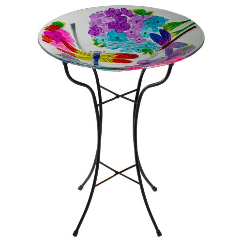 "18"" Pink and Purple Dragonflies Hand Painted Glass Outdoor Patio Birdbath - IMAGE 1"