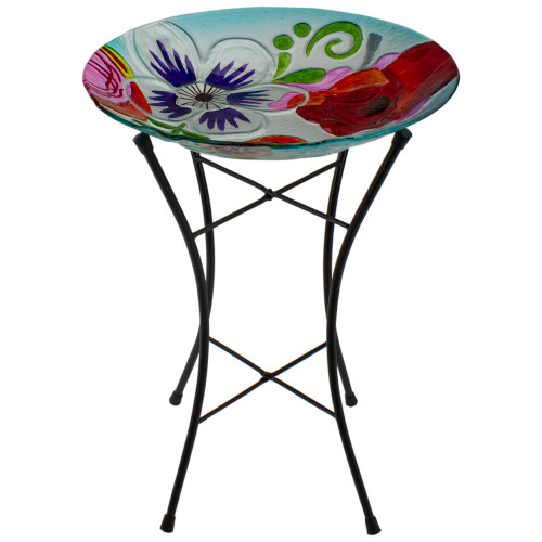 """21"""" White and Blue Hand Painted Floral Glass Outdoor Patio Birdbath - IMAGE 1"""