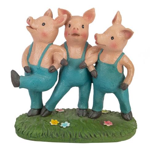 """8"""" Three Pigs Dancing in Blue Overalls Outdoor Garden Statue - IMAGE 1"""
