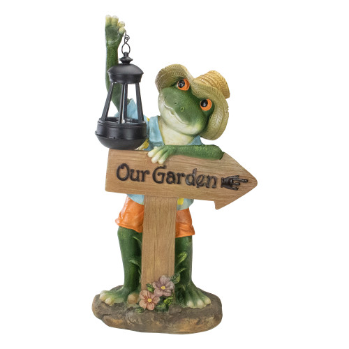 18-Inch Country Frog with Lantern Outdoor Garden Statue - IMAGE 1