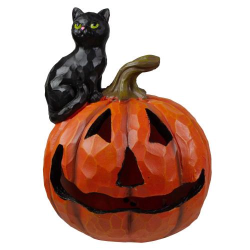 "10"" LED Lighted Jack-O-Lantern and Black Cat Tabletop Halloween Figure - IMAGE 1"