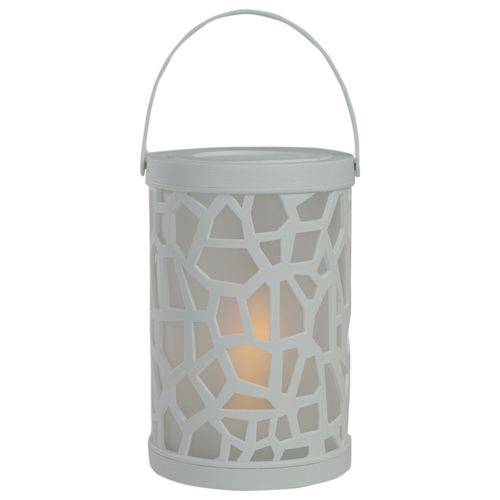 6.5-Inch White Decorative Battery Operated Faux Flame LED Lantern - IMAGE 1