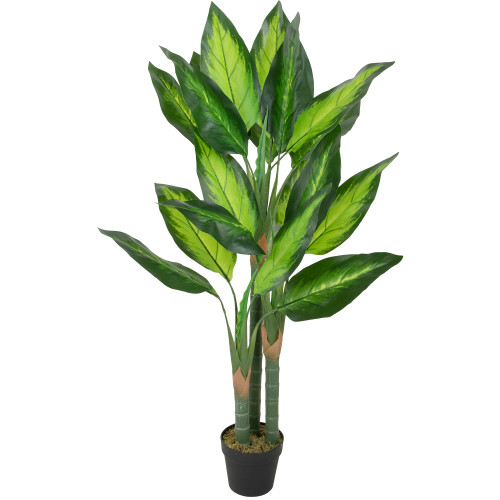 """50"""" Artificial Wide Leaf Green Dieffenbachia Potted Plant - IMAGE 1"""