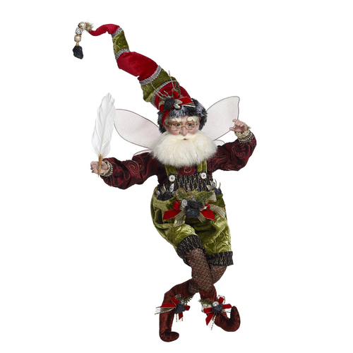 "Mark Roberts Coal Stocking Christmas Fairy Green and Red, Large 19"" - IMAGE 1"