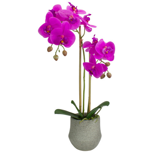 """14"""" Purple Artificial Orchid Plant with a Gray Stone Pot - IMAGE 1"""