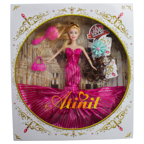 """11"""" Pink Hair Changing Fashion Doll Wearing a Pink Dress With Accessories - IMAGE 1"""