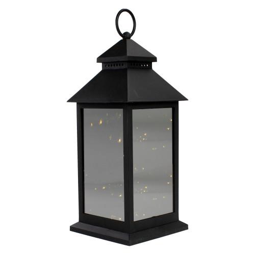 "12"" Black LED Lighted Battery Operated Lantern Warm White Flickering Light - IMAGE 1"