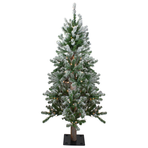 4ft Pre-Lit Flocked Alpine Artificial Christmas Tree, Clear Lights - IMAGE 1