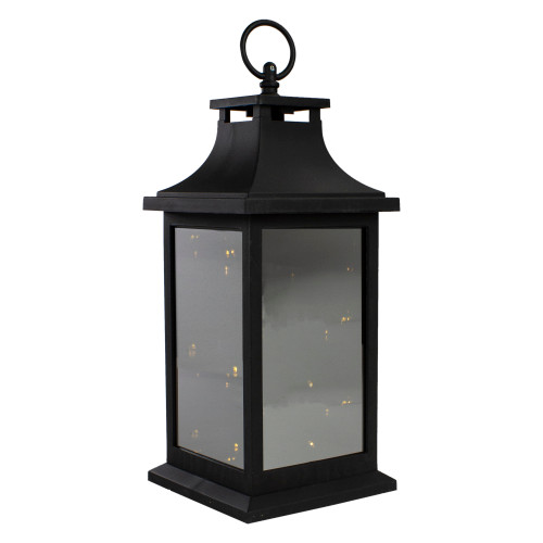 """12"""" Black LED Lighted Battery Operated Lantern with Flickering Light - IMAGE 1"""
