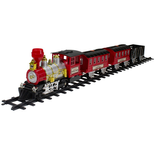 24-Piece Battery Operated Lighted and Animated Christmas Train Set with Sound - IMAGE 1