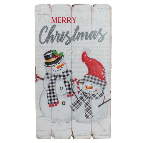 "19"" Lighted Snowmen 'Merry Christmas' Wall Decor - IMAGE 1"