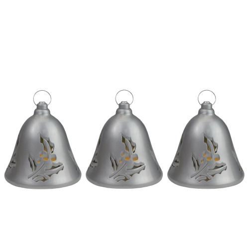 Set of 3 Musical Lighted Silver Bells Christmas Decorations, 6.5-Inches - IMAGE 1