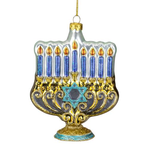 "5"" Gold and Blue Menorah Glass Hanukkah Ornament - IMAGE 1"