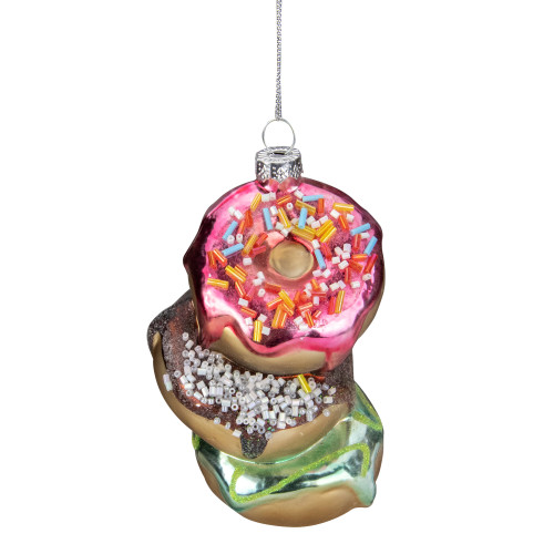"4.25"" Stacked Doughnuts Glass Christmas Ornament - IMAGE 1"