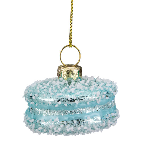 """2"""" Blue Macaron with Sugar Accents Glass Christmas Ornament - IMAGE 1"""
