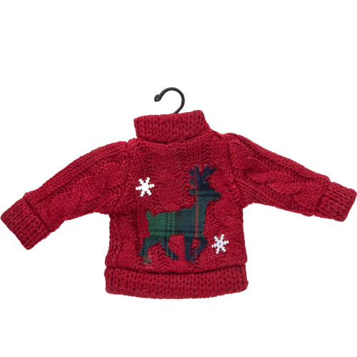 "4.5"" Red Sweater with Plaid Reindeer Christmas Ornament - IMAGE 1"