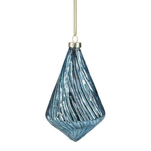 "4.75"" Blue Glitter Swirl Glass Pendant Christmas Ornament - IMAGE 1"