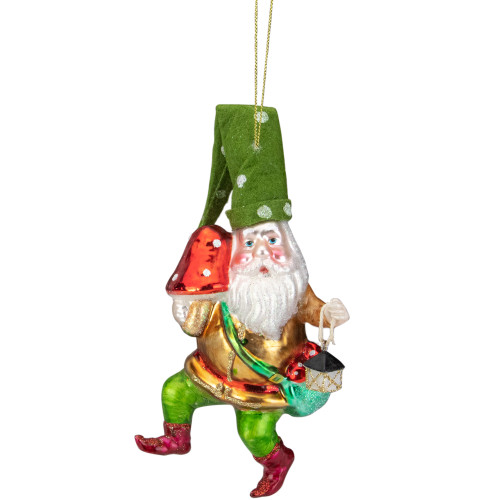 "6"" Gold and Green Gnome with Lantern and Mushroom Glass Christmas Ornament - IMAGE 1"