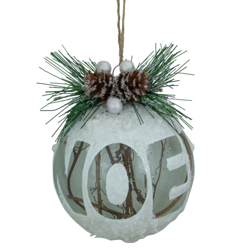 """4"""" White Frosted NOEL With Holly and Berries Glass Christmas Ornament - IMAGE 1"""
