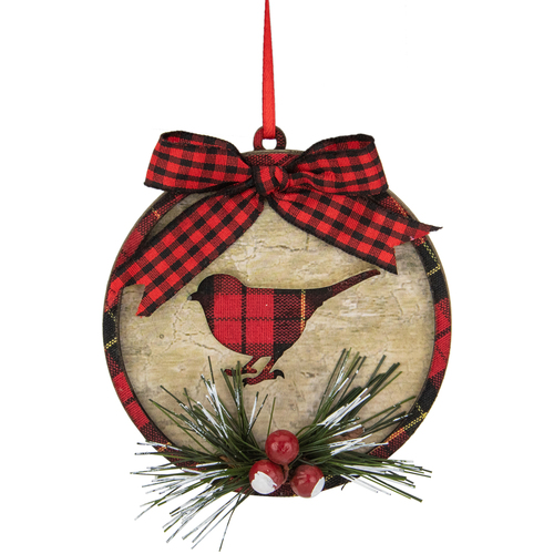 """4"""" Red and Black Plaid Cardinal with Holly Berries Christmas Ornament - IMAGE 1"""
