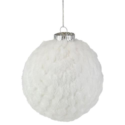"4"" White Chenille Plush Christmas Ball Ornament - IMAGE 1"