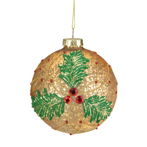 """4"""" Gold Holly Berry Mercury Glass Ball Christmas Ornament - IMAGE 1"""
