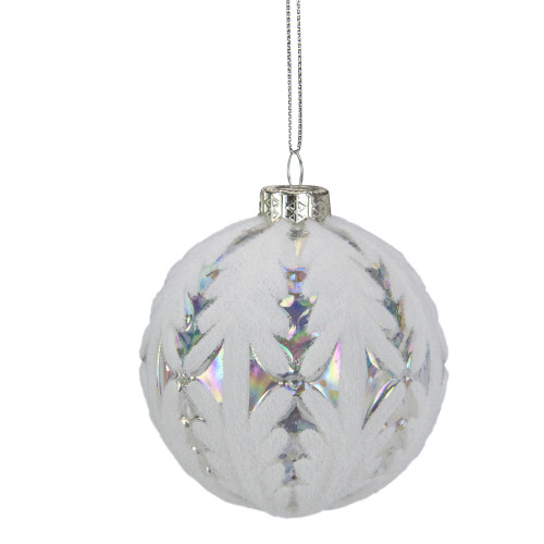 "3.25"" Clear Iridescent with White Frost Glass Ball Christmas Ornament - IMAGE 1"